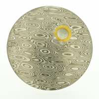 Burr patterned 18k white gold and silver mokume gane discus brooch (49mmø) with 22k gold rimmed cutaway and diamond detail. Price POA