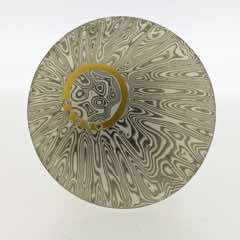 Radiant patterned 18k white gold and silver mokume gane discus brooch with 22k gold halo and diamond detail. POA.